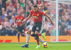 MANCHESTER, ENGLAND - Sunday, February 24, 2019: Manchester United's Jesse Lingard (L) and Liverpool's Fabio Henrique Tavares 'Fabinho' during the FA Premier League match between Manchester United FC and Liverpool FC at Old Trafford. (Pic by David Rawcliffe/Propaganda)