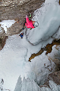 "Mountain guide and mixed climbing champion Dawn Glanc climbing ""Bipolar"" rated M9 in the Ouray Ice Park, Ouray Colorado"