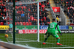 The ball hits the back of the net after a shot by Michael Smith of Rotherham United to give Rotherham United an injury time equaliser - Mandatory by-line: Ryan Crockett/JMP - 24/02/2018 - FOOTBALL - Aesseal New York Stadium - Rotherham, England - Rotherham United v Doncaster Rovers - Sky Bet League One