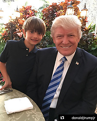 """Donald Trump releases a photo on Instagram with the following caption: """"HAPPY BIRTHDAY DONNIE!!\n#Repost @donaldjtrumpjr\n\u30fb\u30fb\u30fb\nHappy 10th birthday to the best little man in the world. Donnie I\u2019m very proud of the man you\u2019re becoming and I can\u2019t wait for many more adventures ahead. Happy bday to the best little woodsman and fishing buddy ever. #birthday #birthdayboy #10 #doubledigits #son"""". Photo Credit: Instagram *** No USA Distribution *** For Editorial Use Only *** Not to be Published in Books or Photo Books ***  Please note: Fees charged by the agency are for the agency's services only, and do not, nor are they intended to, convey to the user any ownership of Copyright or License in the material. The agency does not claim any ownership including but not limited to Copyright or License in the attached material. By publishing this material you expressly agree to indemnify and to hold the agency and its directors, shareholders and employees harmless from any loss, claims, damages, demands, expenses (including legal fees), or any causes of action or allegation against the agency arising out of or connected in any way with publication of the material."""