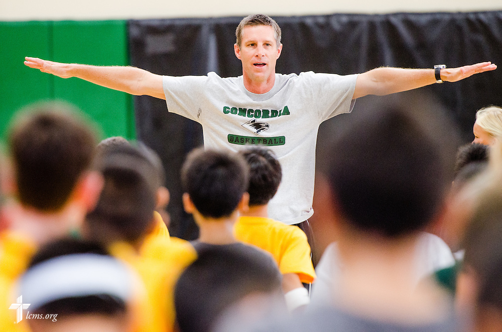 Ken Ammann, mens basketball coach at Concordia University Irvine, helps host a summer camp for children on Wednesday, July 9, 2014, in Irvine, Calif. LCMS Communications/Erik M. Lunsford