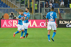 October 14, 2017 - Rome, Italy - Lorenzo Insigne celebrates after sxoring goal 0-1 during the Italian Serie A football match between A.S. Roma and S.S.C. Napoli at the Olympic Stadium in Rome, on october 14, 2017. (Credit Image: © Silvia Lor/Pacific Press via ZUMA Wire)