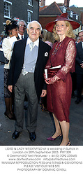 LORD & LADY WEIDENFELD at a wedding in Suffolk in London on 20th September 2003.PMT 309