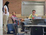 Staff make preparations for the first day of school at Chavez High School, August 20, 2014.