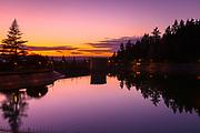 Sunset last light over Reservoir 5, Mount Tabor Park, Portland, Oregon, USA.