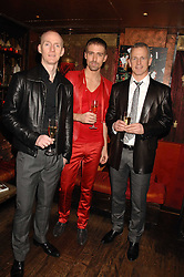 Left to right, MICHAEL FLYNN, CHRISTIAN HELLAND and BRIAN PADDICK Lib Dem candidate for Mayor of London 2008 at a party in honour of Ivana Trump hosted by Mohieb Dahabieh at Pasha, Gloucester Road, London on 25th January 2008.<br />