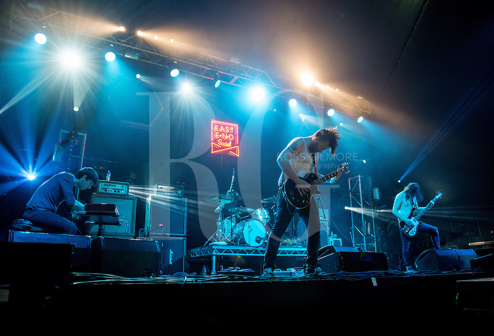 Holy Mountain performs on stage at The Last Big Weekend at Richmond Park on August 30, 2014 in Glasgow, United Kingdom. (Photo by Ross Gilmore)