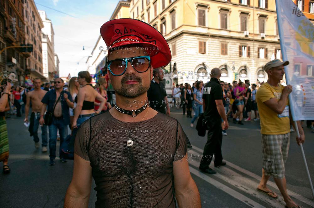 Roma 11 Giugno 2011.EuroPride 2011.La Sfilata del Gay pride, la giornata dell' orgoglio omosessuale per le vie della città.