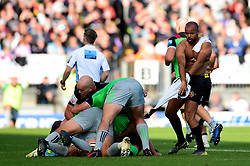 Tom O'Flaherty of Exeter Chiefs takes off his shirt as Gabriel Ibitoye of Harlequins keeps hold of it during a ruck - Mandatory by-line: Ryan Hiscott/JMP - 19/10/2019 - RUGBY - Sandy Park - Exeter, England - Exeter Chiefs v Harlequins - Gallagher Premiership Rugby