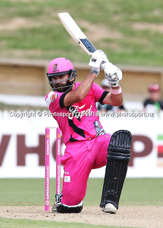 Knights captain Dean Brownlie batting during the Burger King Super Smash Twenty20 cricket match Knights v Kings played at Seddon Park, Hamilton, New Zealand on Sunday 14 January 2018.<br /> <br /> Copyright photo: &copy; Bruce Lim / www.photosport.nz