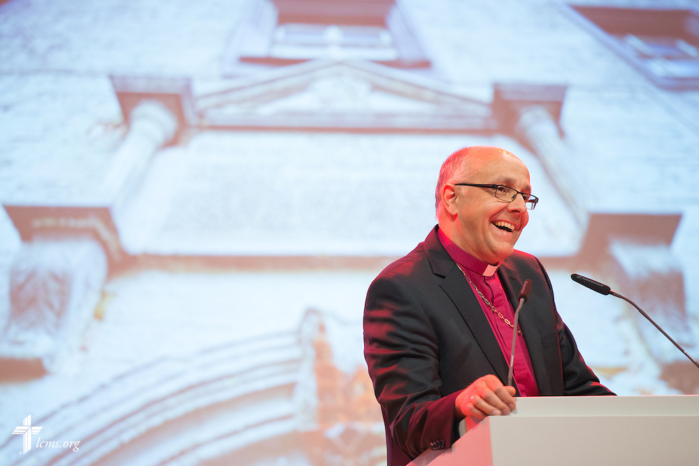 Bishop Hans-Jörg Voigt of the Independent Evangelical Lutheran Church (SELK) addresses a reception at the Stadthaus following the dedication of The International Lutheran Center at the Old Latin School on Sunday, May 3, 2015, in Wittenberg, Germany. LCMS Communications/Erik M. Lunsford