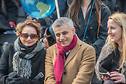 Sadiq Khan, London Mayoral candidate for Labour - 'Walk in Her Shoes' a mother's day march in solidarity with women and girls around the world and in advance of International Womens Day this week - CARE International's Walk In Her Shoes event led by Helen Pankhurst, her 21-year old daughter Laura Pankhurst, music legend Annie Lennox, Bianca Jagger, comedian Bridget Christie, Secretary of State for International Development Justine Greening, London Mayoral candidates Sadiq Khan and Sophie Walker and a group of 'Olympic Suffragettes' in Edwardian clothing with banners. They were also joined by Sister Sledge.
