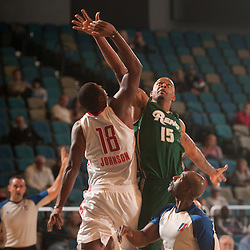 RENO, NV - JANUARY 9:  Andre Emmett #15 of the Reno Bighorns wins a jump ball in the second period over Tyren Johnson #18 of the Rio Grande Valley Vipers during the 2012 NBA D-League Showcase inside the Reno Events Center in Reno, Nev., Monday, Jan. 9, 2012.  NOTE TO USER: User expressly acknowledges and agrees that, by downloading and or using this photograph, User is consenting to the terms and conditions of the Getty Images License Agreement. Mandatory Copyright Notice: Copyright 2012 NBAE  (Photo by David Calvert/NBAE via Getty Images) *** Local Caption *** Andre Emmett;Tyren Johnson