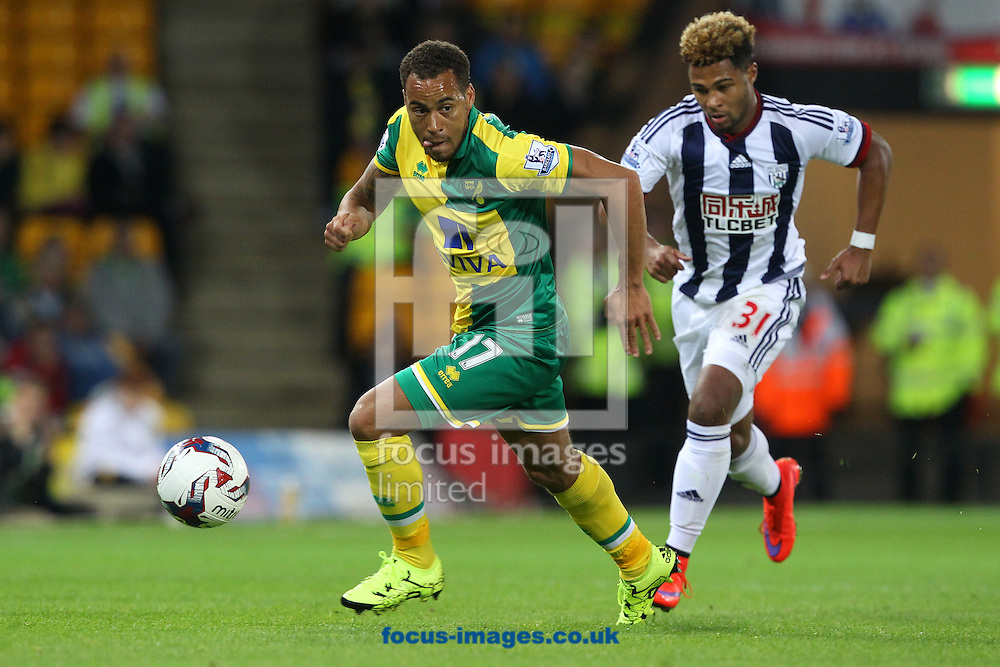 Elliott Bennett of Norwich and Serge Gnabry of West Bromwich Albion in action during the Capital One Cup match at Carrow Road, Norwich<br /> Picture by Paul Chesterton/Focus Images Ltd +44 7904 640267<br /> 23/09/2015