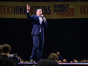 01 NOVEMBER 2019 - DES MOINES, IOWA: Businessman ANDREW YANG, Democratic candidate for president, speaks at the Liberty and Justice Celebration in the Wells Fargo Arena in Des Moines. The Liberty and Justice Celebration is a fund raiser for the Iowa Democratic Party. Many of the Democratic candidates for the US presidency spoke at the 2019 Celebration. Iowa holds the first presidential selection event of the 2020 election cycle. The Iowa Caucuses are Feb. 3, 2020.           PHOTO BY JACK KURTZ