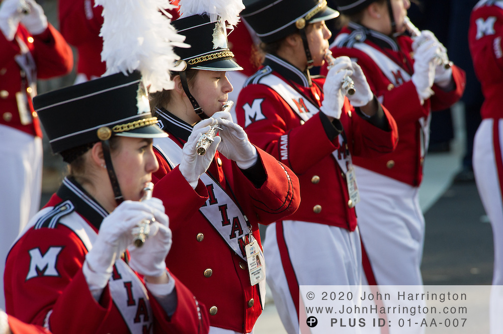 Miami University Marching Band participating in the parade for the 57th Presidential Inauguration of President Barack Obama at the U.S. Capitol Building in Washington, DC January 21, 2013.