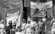 Lancashire & South Wales Womens Support Groups banners. NUM Centenary Demonstration and Gala, Barnsley.