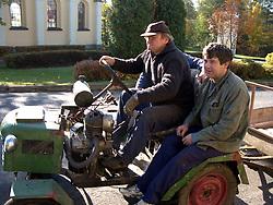 CZECH REPUBLIC NEDVEZI 14AUG08 - Locals on a home-made tractor in Nedvezi village in Vysocina, Czech Republic.....jre/Photo by Jiri Rezac....© Jiri Rezac 2008....Contact: +44 (0) 7050 110 417..Mobile:  +44 (0) 7801 337 683..Office:  +44 (0) 20 8968 9635....Email:   jiri@jirirezac.com..Web:    www.jirirezac.com....All images © Jiri Rezac 2008. All rights reserved.