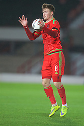 WREXHAM, WALES - Tuesday, November 17, 2015: Wales' Lee Evans in action against Romania during the UEFA Under-21 Championship Qualifying Group 5 match at the Racecourse Ground. (Pic by David Rawcliffe/Propaganda)