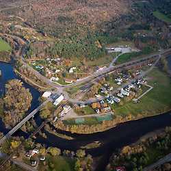 An aerial view of North Stratford, New Hampshire and the Connecticut River.