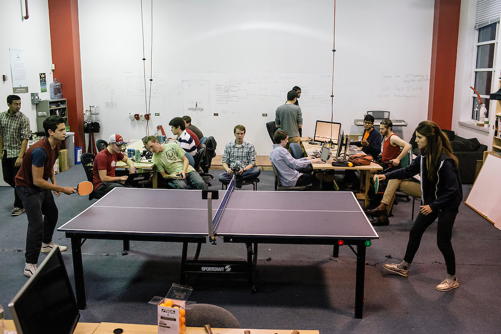 Members of Startup Shell, hold a ping pong tournament while taking breaks from work on various projects at the Startup Shell headquarters on the University of Maryland campus on April 1, 2015. Startup Shell is a not for profit company run entirely by and for students at UMD. Entrepreneurial students from all different disciplines apply to join and if accepted, can work on their innovative project with others collaborating and teaching one another.