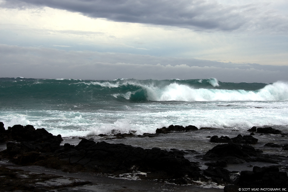 Waves and shoreline at Southpoint, Big Island, Hawaii
