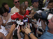 Speedster Ted Ginn Jr. was surrounded by the media during photo day in the Horseshoe.