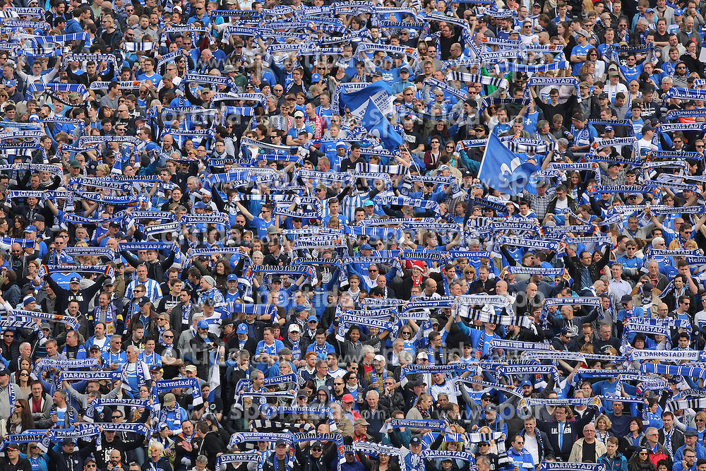 02.04.2016, Merck Stadion am Boellenfalltor, Darmstadt, GER, 1. FBL, SV Darmstadt 98 vs VfB Stuttgart, 28. Runde, im Bild Darmstadt Fanblock // during the German Bundesliga 28th round match between SV Darmstadt 98 and VfB Stuttgart at the Merck Stadion am Boellenfalltor in Darmstadt, Germany on 2016/04/02. EXPA Pictures &copy; 2016, PhotoCredit: EXPA/ Eibner-Pressefoto/ Bermel<br /> <br /> *****ATTENTION - OUT of GER*****