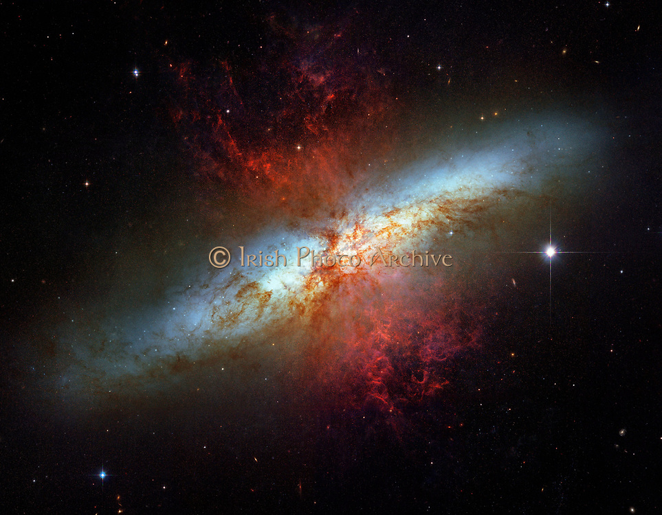 What's lighting up the Cigar Galaxy? M82, as this irregular galaxy is also known, was stirred up by a recent pass near large spiral galaxy M81. This doesn't fully explain the source of the red-glowing outwardly expanding gas, however. Recent evidence indicates that this gas is being driven out by the combined emerging particle winds of many stars, together creating a galactic super wind.. The above photographic mosaic highlights a specific colour of red light strongly emitted by ionized hydrogen gas, showing detailed filaments of this gas. The filaments extend for over 10,000 light years. The 12-million light-year distant Cigar Galaxy is the brightest galaxy in the sky in infrared light, and can be seen in visible light with a small telescope towards the constellation of the Great Bear (Ursa Major).