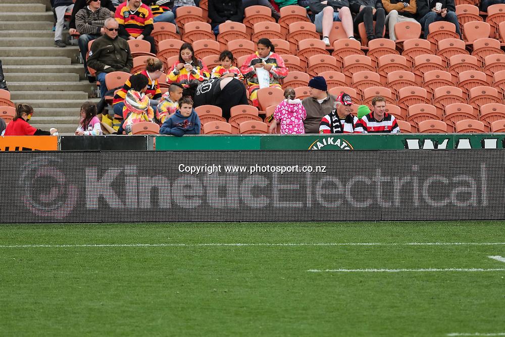 Kinetic Electrical signage during the ITM Cup rugby match - Waikato v Counties Manukau at Waikato Stadium, Hamilton on Sunday 14 September 2014.  Photo: Bruce Lim / www.photosport.co.nz