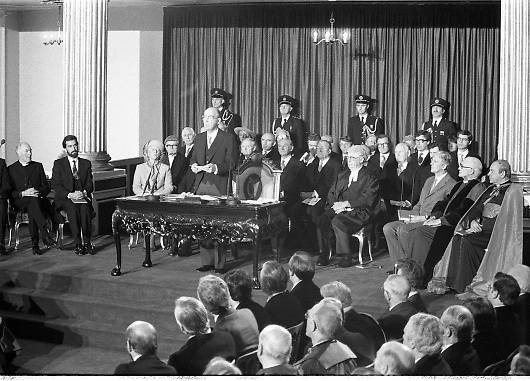 Inaugeration of President Hillery..1983.03.12.1983.12.03.1983.3rd December 1983...Dignitaries from home and abroad attended the Inaugeration of Patrick Hillery, as president of Ireland. the ceremony took place at St Patrick's Hall,Dublin Castle...President Patrick Hillery makes his inaugural speech on his acceptance of the presidency