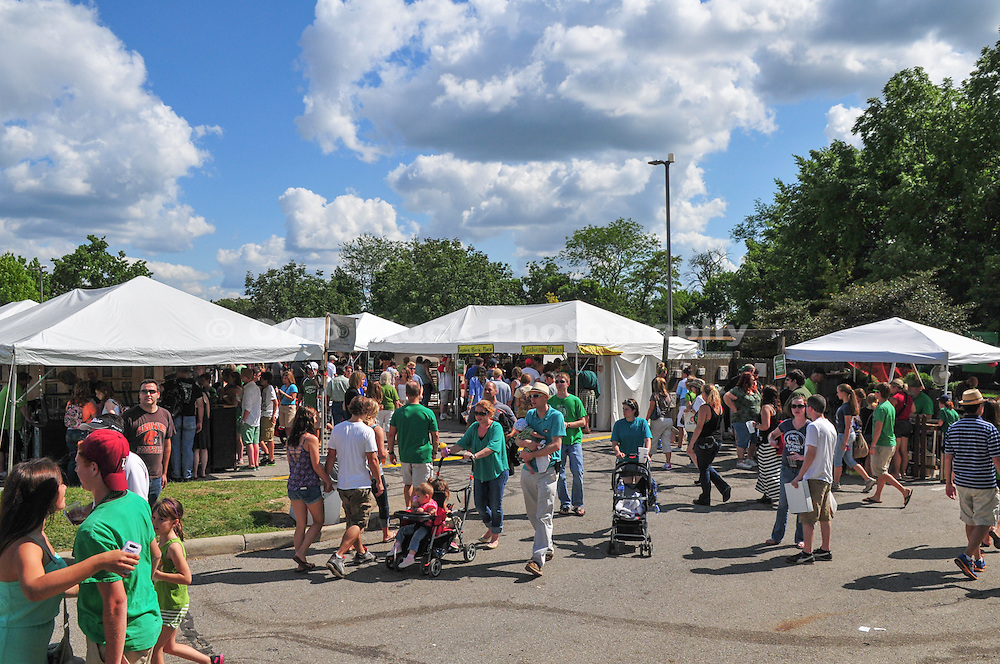 Photo of people visiting booths at the Dublin Irish Festival in Dublin, Ohio.