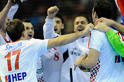 Croatia team celebrates victory against France (Photo by Sportida Photo Agency)