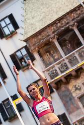 30.05.2015, Altstadt, Innsbruck, AUT, Golden Roof Challenge, Weitsprung Frauen, im Bild Alinia Rotaru (ROM) // Alinia Rotaru of Romania reacts during Women´s long jump at Golden Roof Challenge in Innsbruck, Austria on 2015/05/30. EXPA Pictures © 2015, PhotoCredit: EXPA/ Jakob Gruber