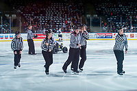 KELOWNA, CANADA - FEBRUARY 17: Young ice officials exit the ice after the opening of the game at the Kelowna Rockets against the Edmonton Oil Kings  on February 17, 2018 at Prospera Place in Kelowna, British Columbia, Canada.  (Photo by Marissa Baecker/Shoot the Breeze)  *** Local Caption ***