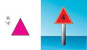 A vector illustration of a red triangular dayboard symbol used on navigational charts.