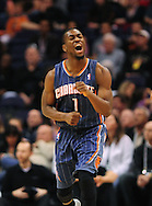 Feb. 4, 2012; Phoenix, AZ, USA; Charlotte Bobcats guard Kemba Walker (1) reacts on the court while playing against the Phoenix Suns during the second half at the US Airways Center.  The Suns defeated the Bobcats 95 - 89. Mandatory Credit: Jennifer Stewart-US PRESSWIRE.