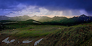 Rays of the sun shine down on a Never Summer Mountains panorama in Rocky Mountain National Park, Colorado.