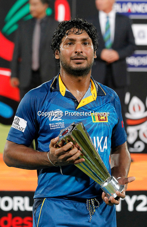 Man of the match Kumar Sangakkara, ICC T20 cricket World Cup Final - Sri Lanka v India, Sher-e-Bangla National Cricket Stadium, Mirpur, Bangladesh, 6 April 2014. Photo: www.photosport.co.nz