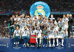 May 26, 2018 - Kiev, Ukraine - Real Madrid players celebrate after they won UEFA Champions League Final match against Liverpool FC at NSC Olipiyskyi stadium in Kyiv, Ukraine, May 26, 2018. (Credit Image: © Raddad Jebarah/NurPhoto via ZUMA Press)