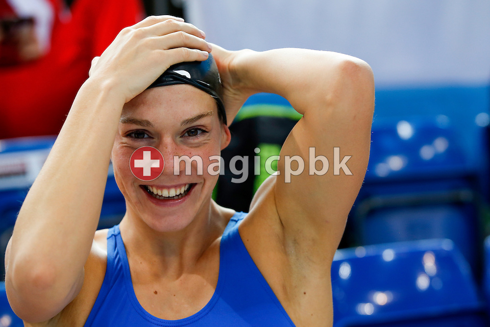 Svenja STOFFEL of Switzerland adjusts her swim cap prior to a training session during the LEN European Swimming Championships held at the London Aquatics Centre in London, Great Britain, Monday, May 16, 2016. (Photo by Patrick B. Kraemer / MAGICPBK)