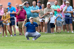 May 25, 2018 - Forth Worth, TX, U.S. - FORT WORTH, TX - MAY 25:  Jordan Spieth of the United States looks up at the trees obstructing his approach shot to #7 during the second round of the Fort Worth Invitational on May 25, 2018 at Colonial Country Club in Fort Worth, TX. (Photo by Andrew Dieb/Icon Sportswire) (Credit Image: © Andrew Dieb/Icon SMI via ZUMA Press)