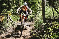 Macky Franklin rolling the trails at Deer Valley Resort, Wasatch Range, Utah.