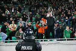 Green Dragons, supporters of Olimpija celebrate 25th Anniversary during football match between NK Olimpija Ljubljana and NK Celje in 14th Round of Prva Liga Telekom Slovenije 2013/14, on October 19, 2013 in SRC Stozice, Ljubljana, Slovenia. (Photo by Vid Ponikvar / Sportida)