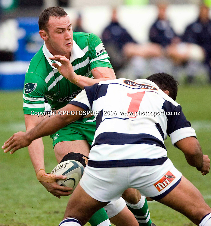 Manawatu's Hayden Triggs takes the ball up during the Air New Zealand Cup week 1 rugby match between Manawatu and Auckland at FMG Stadium, Palmerston North, on Saturday 29 July 2006. Auckland won 41-10. Photo: Aaron Smale/PHOTOSPORT<br /> <br /> <br /> 290706 npc nz union