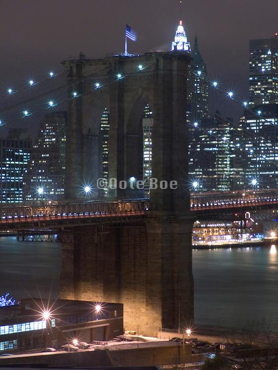 Manhattan skyline with Brooklyn bridge January 2005
