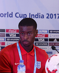 October 7, 2017 - Kolkata, West Bengal, India - Player Marc Guehi during a press conference at Salt Lake stadium in Kolkata. England football team coach Steve Cooper and player Marc Guehi during a press conference ahead of FIFA U 17 World Cup on October 7, 2017 in Kolkata. (Credit Image: © Saikat Paul/Pacific Press via ZUMA Wire)