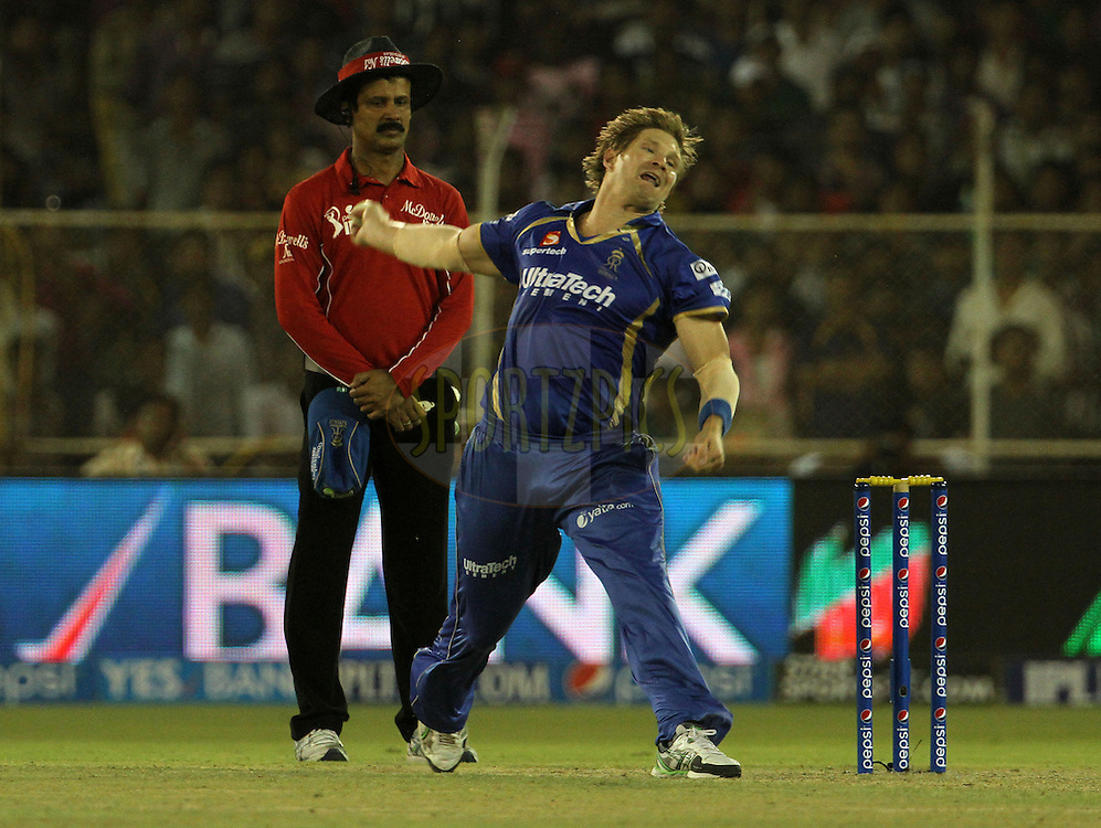 Shane Watson captain of the Rajasthan Royals bowls a delivery during match 25 of the Pepsi Indian Premier League Season 2014 between the Rajasthan Royals and the Kolkata Knight Riders held at the Sardar Patel Stadium, Ahmedabad, India on the 5th May  2014<br /> <br /> Photo by Vipin Pawar / IPL / SPORTZPICS      <br /> <br /> <br /> <br /> Image use subject to terms and conditions which can be found here:  http://sportzpics.photoshelter.com/gallery/Pepsi-IPL-Image-terms-and-conditions/G00004VW1IVJ.gB0/C0000TScjhBM6ikg