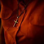 June 1, 2016 - New York, NY : The Missionary Sisters of the Immaculate Heart of Mary (I.C.M.)  are selling their 25-bedroom, two-story, combined two-townhome property located at 236 East 15th Street. Here, Sister Cecilia, who used to live in the building, wears a gold cross over her pink blouse. CREDIT: Karsten Moran for The New York Times