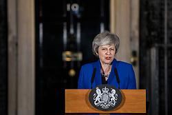 © Licensed to London News Pictures. 16/01/2019. London, UK. Prime Minister Theresa May delivers a statement about Brexit outside 10 Downing Street. Photo credit: Rob Pinney/LNP